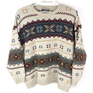 Vintage Fair Isle Crewneck Wool Pullover Sweater